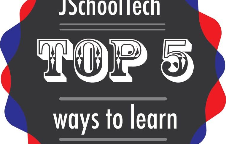Badge in KU crimson and blue that says JSchool Tech top 5 ways to learn