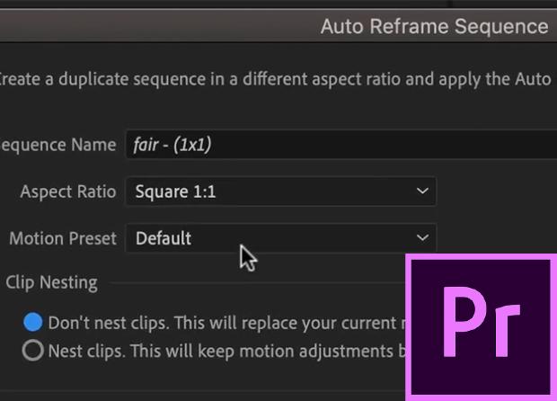 view of auto reframe dialog box