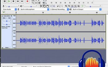 Screen shot of audacity interface with logo over it in bottom right corner